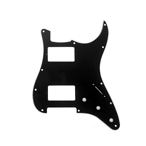 Musiclily Pro 11 Hole Guitar Strat Pickguard HH Humbucker for American/Mexican Fender Standard Stratocaster Modern Style, 3Ply Black