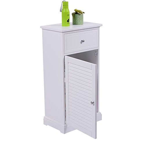 White Storage Floor Cabinet Wall Shutter Door Bathroom Organizer Cupboard Shelf, Bright White Finish to Compliment Any Decor, Single Shutter Door, Removable Inner Shelf, Space Saving Floor Cabinet