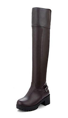 Zipper Solid AgooLar Nap Kitten Brown Boots Toe Round Heels Women's fFFS7wnqx6