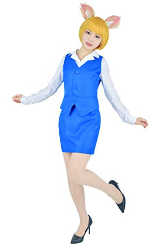 Costumes With C (C-ZOFEK Women's Retsuko Cosplay Costume Office Unifform Set Blue (Small,)