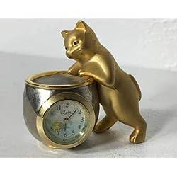 Elgin Gold Tone Cat and Fishbowl Mini Desk Clock