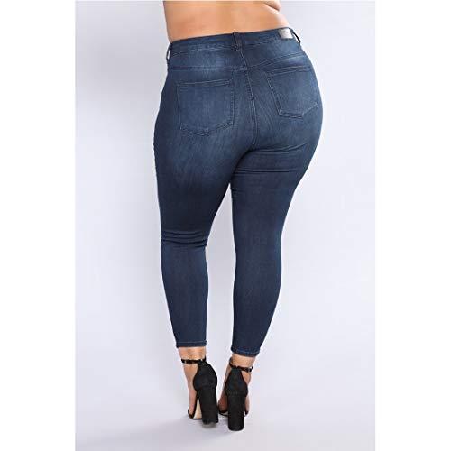 donna Color skinny Denim Style 5XL Style 2 Size strappati alta Pantaloni Taglie Jeans a 1 Wowulgar stretch Jeans da vita forti wxFqfn61Bc