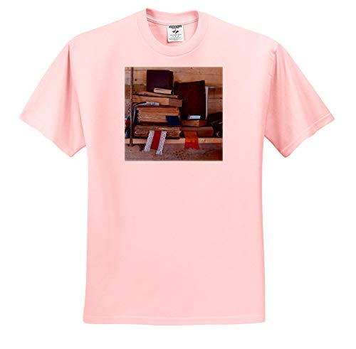 - Alexis Photography - Still-Life - Pile of Vintage Books with Textile bookmarkers on a Wooden Shelf - T-Shirts - Adult Light-Pink-T-Shirt 2XL (ts_304554_38)