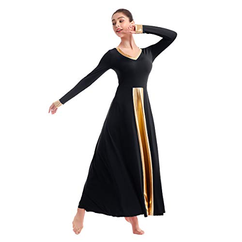 Females Robes, Mime Robes for Women,Square Dance Maxi Dress for Church Classics Flowy Cosplay Costume Black+Gold XXL (Dance Outfits For Juniors)