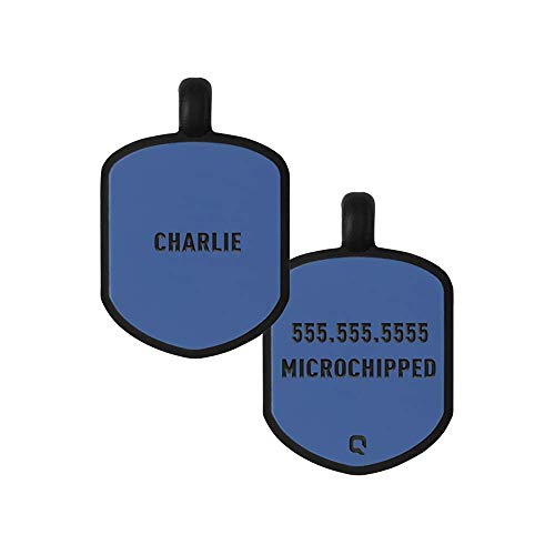 - QALO Customized Silicone Dog ID Tag - Classic Blue Shield