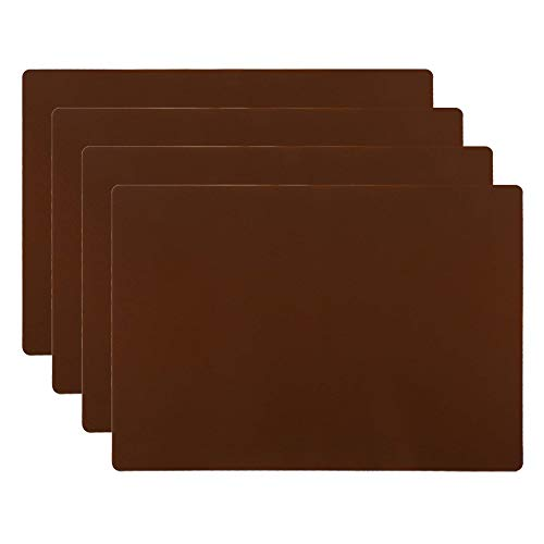 HomeDo 4Pack Waterproof Silicone Placemats, Non-Stick Baking Mat, Non-Slip Dining Placemat for Kids, Heat Resistant Insulation Countertop Protector Pads, Thicken (Coffee-4pcs, 15.75