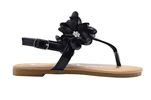 (bebe Girls Fashion Sandals 12 M US Little Kid Slingback T Strap Thong Summer Flats with Chiffon Flowers)