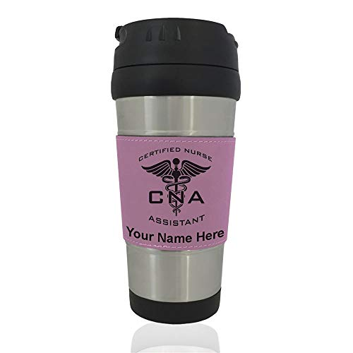 Travel Mug - CNA Certified Nurse Assistant - Personalized Engraving Included (Pink) ()