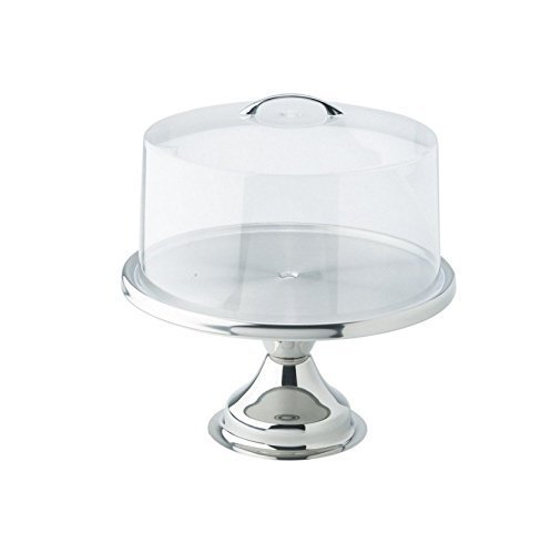 Winco 13inch Stainless Steel Cake Stand CKS-13, with Matching Acrylic Cover CKS-13C - Gift Set