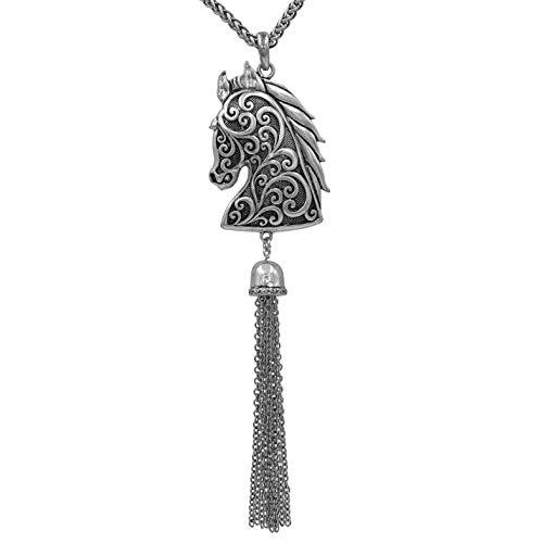 (Gypsy Jewels Western Theme Mixed Horse Silver Tone Necklace (Swirl Head Long Tassel))