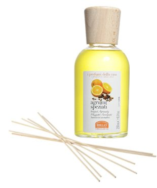 Helan I Profumo Della Casa Home Fragrances Scented Room Sticks 250 mL 8.5 fl oz Reed Diffuser and Reeds - Spicy Citrus (Sparkly Citrus Embracing Bouquet)
