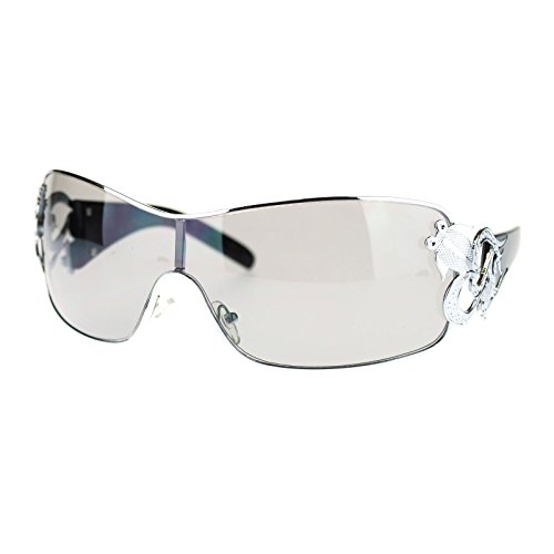 Womens Coy Metal Jewel Designer Fashion Shield Warp Sunglasses Black (Women Shield Sunglasses)