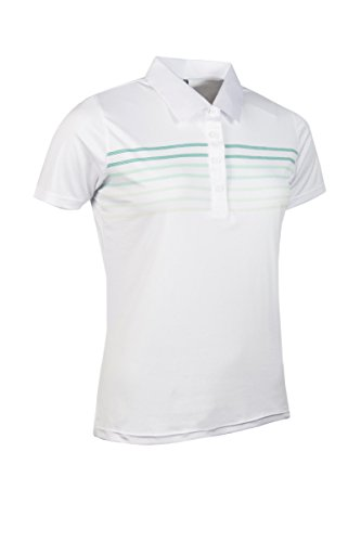 Glenmuir Ladies Printed Stripe Golf Performance Polo Shirt White/Spearmint Stripe S (Green Spearmint Striped)