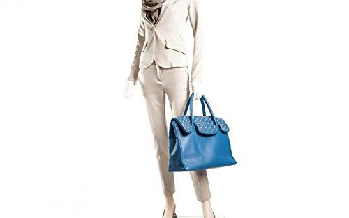 Kelly Gold - Passione Bags - Borsa da donna in vera pelle a mano o a spalla color cobalto con borchie - Made in Italy