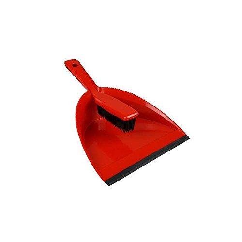 Lantelme 4245 Pelle à poussière (avec bord de raclage) + balai à main en caoutchouc - Largeur de travail 25 cm - Rouge / noir