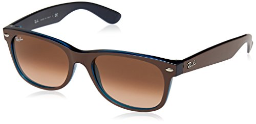 Ray-Ban RB2132 New Wayfarer Sunglasses, Matte Brown On Blue/Brown Gradient, 52 mm