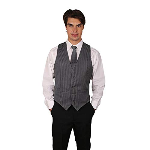 SixStarUniforms Men's Grey Pinstripe Cotton Vest X Large