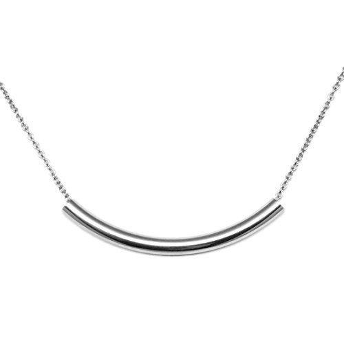 Loralyn Designs 316L Stainless Steel Curved Bar Tube Necklace (18 Inches)
