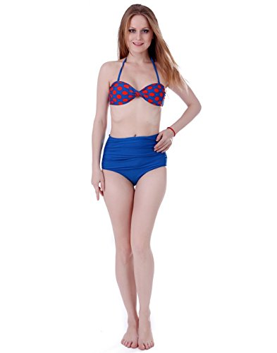 Bikini Girl BOOLAVARD Orange Up donne Rockabilly Swimsuit Pin Dot amp; Retro alta 50s delle Blue dell'annata Polka vita Set rnaqAPYr