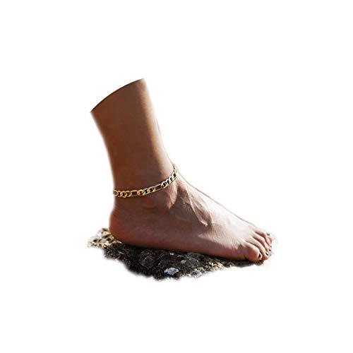 Fettero Anklet Women Handmade Dainty Summer Boho Beach Foot Chain Adjustable High Polish Concave Figaro Link Gold ()