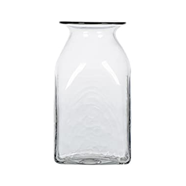 [Off to College] CASAMOTION Clear Hand Blown Art Glass Vase, Gift Boxed, 8 Inch