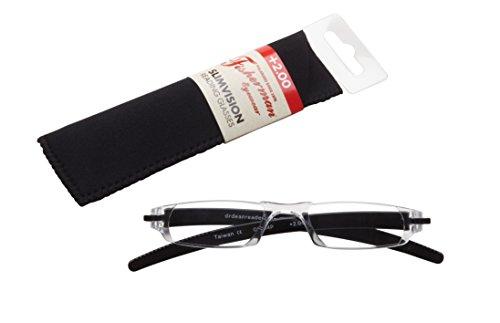 Fisherman Eyewear Slim Vision Rimless Reading Glasses, Shiny Black (+2.00)