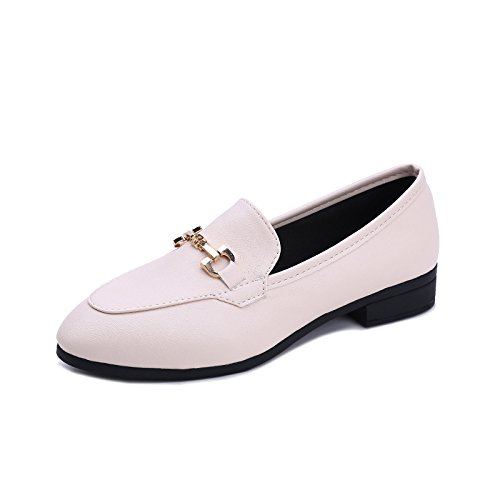 donna 37 Scarpe base di elegante bianco metallica fibbia piana d88gqH