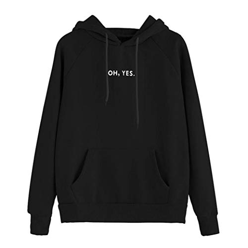Clearance ! Oh Yes Women's Hoodie Pullover Autumn Winter Warm Women Apparel Hooded Sweatshirt Blouse Tops (Black, L) by HTHJSCO