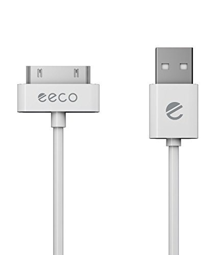 eeco Apple MFi Certified 6ft iPhone 4/4s Charger Cable, iPhone 3G/3GS, iPad 1/2/3, iPod Touch 1/2/3/4, iPod 5th Gen, iPod Classic, iPod Nano 1/2/3/4/5/6 (White) 30-Pin-to-USB (Nano White Ipod)