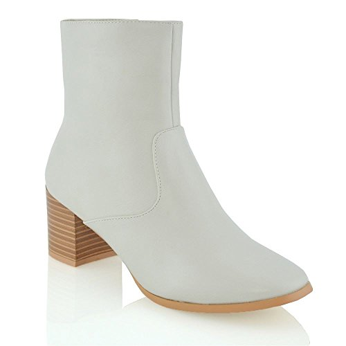 ESSEX GLAM New Womens Block Heel Booties Ladies Casual Zip Ankle Boots Shoes Size 3-8 STONE SYNTHETIC LEATHER Boh6XwV1B