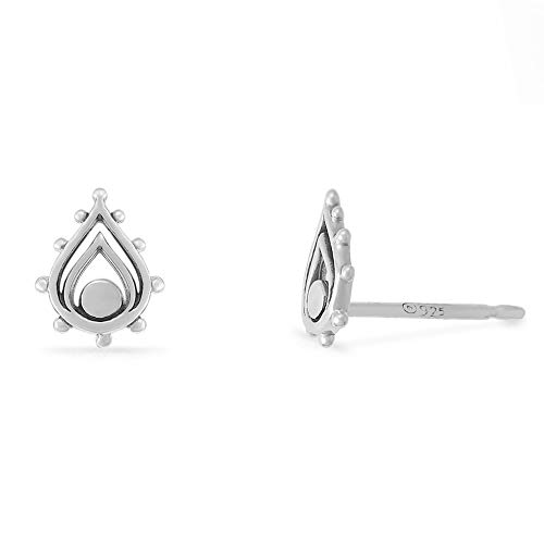 Boma Jewelry Sterling Silver Balinese Tribal Boho Teardrop Stud Earrings