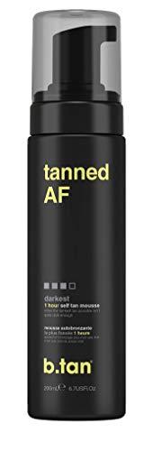 b.tan self tan mousse tanned AF. 6.7 fl oz 1 hour dark dark dark brown tan
