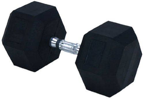 Rubber Encased Solid Hex Dumbbell, 70-Pound (Each) (70lb Dumbbell)