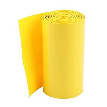 DealMux 85 milímetros de largura de PVC termoretrtil Tubo amarelo 5 m para 18650 Baterias Pacote
