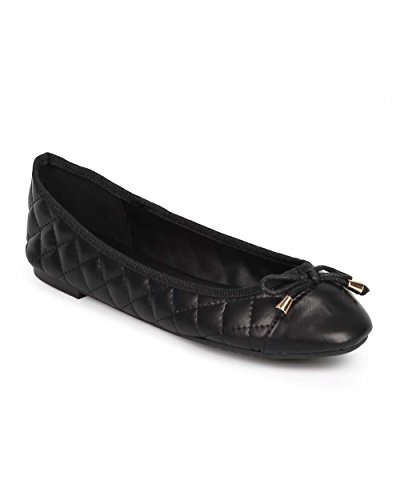 p Toe Slip On Ballet Flat DD90 - Black (Size: 8.5) (Cap Toe Quilted Flats)