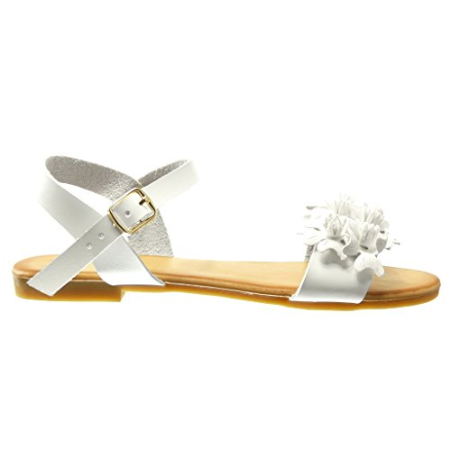 Angkorly Women's Fashion Shoes Sandals - Flowers - Thong Block Heel 1.5 cm White WFlka