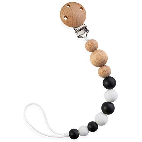 - Baby Pacifier Clip | Black & White, Unisex | BPA-Free, Food-Grade Silicone & Wooden Binky Holder W/Soothing Chew Beads & Metal-Free Clip for Safe Teething Relief Always in Reach | Assist Healthy Gum