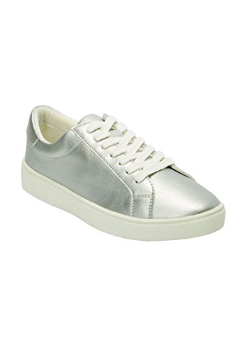 Woman Within Womens Wide Jamie Vintage Leather Sneaker Silver,7 1/2 Ww