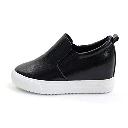 EpicStep Women's Black Casual Leather High Mid Heels Hidden Wedges Slip On Platform Sneakers Loafers 7 M US