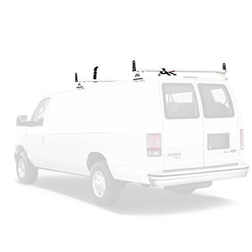 Vantech Aluminum H3 Rack 2 Bar System for a Ford Econoline 1975-91 White ()