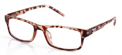 Newbee Fashion - IG Unisex Clear Lens Slim Light Weight Small Plastic Rectangular Frame Clear Lens Glasses with Spring Temple Tortoise