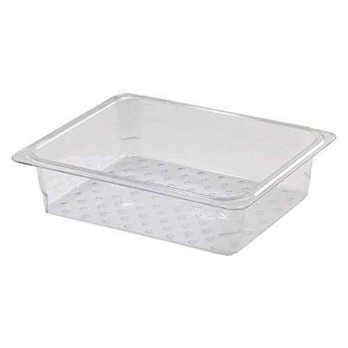 (Cambro 23CLRCW135 Clear Colander Food Pan, 1/2 Size, 3