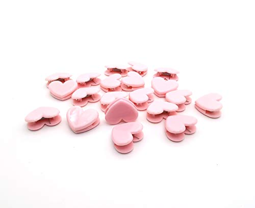 20 Pcs Cute Pink Heart Shape Memo Clips Love Photo Clamps Plastic Binder Clips Paper Clip for Stationery Store Office School Supplies