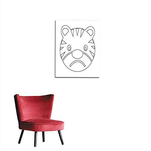 longbuyer Corridor/Indoor/Living Room Tiger Face Emotion Icon Illustration Sign Design Mural 24