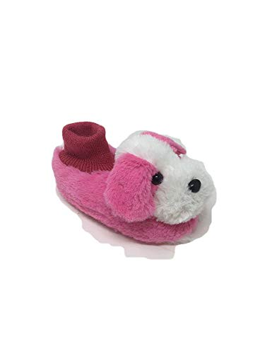 (Boy's/Girl's Cute Soft Plush Puppy Dog Socks Slippers Sandals (Toddlers)(Uni02) (Toddler Size Large 6/7, Fuchsia))