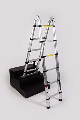WORHAN/® 3.2m TELESKOPLEITER 2 in 1 ANLEGELEITER KLAPPLEITER ALU TELESKOP LEITER MULTIFUNKTTIONS LEITER 320cm K3.2B