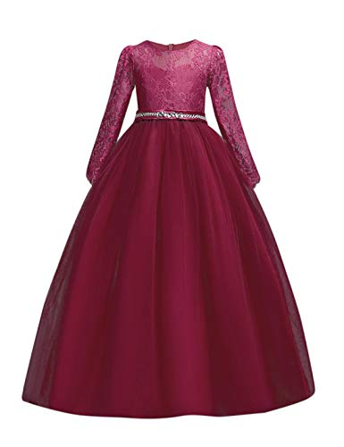 DOCHEER Fancy Girls Dress Tulle Lace Wedding Bridesmaid Ball Gown Floor Length Dresses for 4-14 Years (1023 Red, 7-8 -