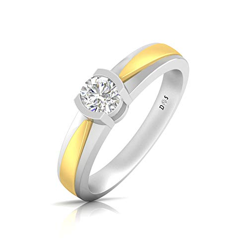 18K Gold with Satin Matte Finish Rhodhium Polish Half Bezel Set Solitaire Mens ()