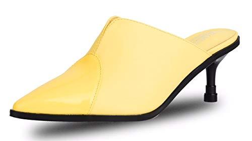 CAMSSOO Women's Slingback Comfortable Pointed Toe Kitten Heel Pumps Sandals Yellow Size US10 EU41