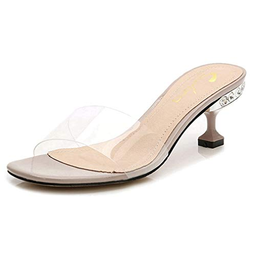 CYBLING Womens Peep Toe Slide Sandals Clear Low Heel Mules Slip On Dress Pump Shoes Beige ()
